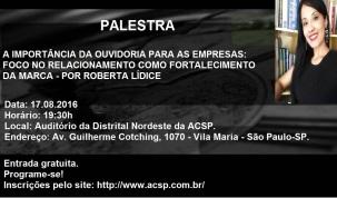 """PALESTRA: """"A IMPORTÂNCIA DA OUVIDORIA PARA AS EMPRESAS: FOCO NO RELACIONAMENTO COMO FORTALECIMENTO DA MARCA"""" EXPOSITORA: DRA.ROBERTA LÍDICE. Encontro de Negócios: Evento Promovido pela Associação Comercial de São Paulo - ACSP, em parceria com a Associação Brasileira de Advogados - ABA São Paulo. Canal YouTube Roberta Lídice: https://youtu.be/czCsbmZKlRE Roberta Lídice Consultoria, Pesquisa e Desenvolvimento: https://robertalidiceconsultoria.com/"""