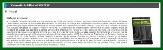 Newsletter Jurídica - IOB - SÍNTESE. Editorial SAGE. Direito Penal e Processual Penal http://www.iob.com.br/newsletters/conteudo.asp… http://www.sintese.com/