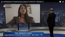 """Programa """"FALA QUE EU TE ESCUTO"""" - RECORD TV Nesta edição, o programa """"FALA QUE EU TE ESCUTO"""" contou com a participação da Dra. Roberta Lídice para debater o tema: """"PRODUTOS PIRATAS: A NECESSIDADE FINANCEIRA JUSTIFICA O CRIME DE QUEM COMPRA E VENDE?"""" Assista na integra esta edição do programa: Channel/Canal YouTube Roberta Lídice:https://youtu.be/_aeM1HxWt-I"""