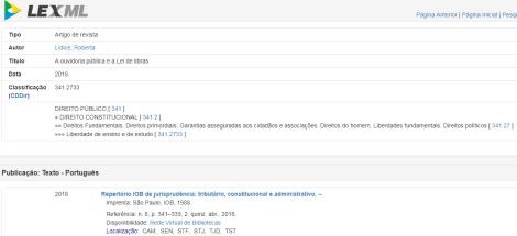 """*LEXML: Rede de Informações Legislativas e Jurídicas – Iniciativa do Governo Eletrônico Brasileiro (eGOV). Texto disponibilizado:""""A Ouvidoria Pública e a Lei de Libras: Inclusão Social Como Exercício da Cidadania"""" ¹ - Autora: Roberta Lídice. O LEXML é um portal especializado em informações legislativas e jurídicas, que são disponibilizadas nos diversos portais de órgãos do Governo na internet. Para mais informações, acesse: http://www.lexml.gov.br/urn/urn:lex:br:rede.virtual.bibliotecas:artigo.revista:2018;1001121741 Boa leitura! [1] SSN 2179-1627. LÍDICE, Roberta. """"A Ouvidoria Pública e a Lei de Libras: Inclusão Social Como Exercício da Cidadania"""". Repertório IOB de Jurisprudência: Tributário, Constitucional e Administrativo, São Paulo, n. 8, p. 341-339, 2. quinz. abr. 2018."""