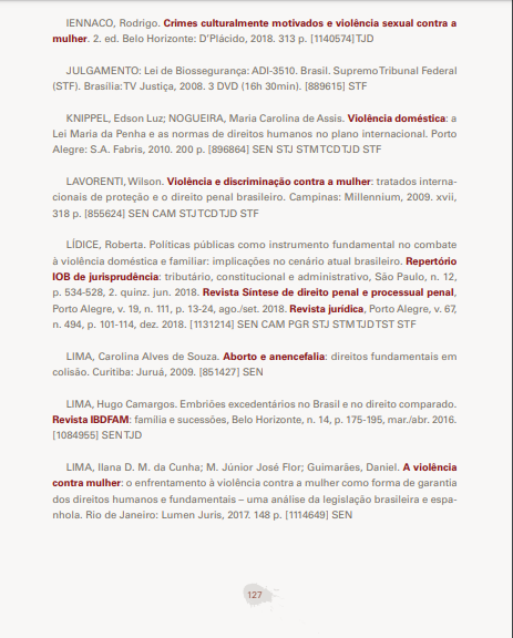 """LIVRARIA DO SUPREMO PROTEÇÃO DA MULHER [recurso eletrônico]: Jurisprudência do STF e Bibliografia Temática/Supremo Tribunal Federal. - Brasília: STF, 2019. 143 p. Honrada e agradecida por compor a Bibliografia Temática desta importante publicação jurídica do Supremo Tribunal Federal (STF), sendo citado o texto de minha autoria, intitulado: """"Políticas públicas como instrumento fundamental no combate à violência doméstica e familiar: implicações no cenário atual brasileiro"""" ¹ Modo de acesso: . [1] Bibliografia Temática, citação, p. 127: LÍDICE, Roberta. Políticas públicas como instrumento fundamental no combate à violência doméstica e familiar: implicações no cenário atual brasileiro. Repertório IOB de jurisprudência: tributário, constitucional e administrativo, São Paulo, n. 12, p. 534-528, 2. quinz. jun. 2018. Revista Síntese de direito penal e processual penal, Porto Alegre, v. 19, n. 111, p. 13-24, ago./set. 2018. Revista jurídica, Porto Alegre, v. 67, n. 494, p. 101-114, dez. 2018. [1131214] SEN CAM PGR STJ STM TJD TST STF Roberta Lídice."""