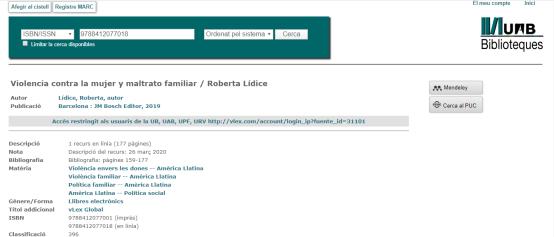 """*Obra añadida al acervo bibliográfico de la prestigiosa Biblioteca de la Universidad Autónoma de Barcelona (UAB): """"Violencia Contra la Mujer y Maltrato Familiar"""" – Autora: Roberta Lídice. Estimados lectores: Les informamos que la prestigiosa Biblioteca de la Universidad Autónoma de Barcelona (UAB), recientemente ha añadido a su impotante y notable acervo bibliográfico la obra: """"Violencia Contra la Mujer y Maltrato Familiar"""", de la autora Roberta Lídice. *BOOK DETAILS Disponible en la Librería Bosch – Barcelona, así como en las principales librerías de España, Francia, Italia, Alemania, Inglaterra, Australia, Corea, Brasil, Colombia, Argentina, entre otros países, con envíos a todo el Extranjero. Libro: Violencia Contra La Mujer y Maltrato Familiar. Author: Roberta LÍDICE Publisher: J.M. Bosch Editor Publication City/Country Barcelona, Spain Language Spanish Edition Year: 2019. ISBN papel: 978-84-120770-0-1 ISBN digital: 978-84-120770-1-8 Prologue: Dr. Mariem De la Rosa Bedriñana – Supreme Court Judge. Para obtener más información, por favor consulte los siguientes enlaces: *Biblioteca de la Universidad Autónoma de Barcelona (UAB): https://catalegclassic.uab.cat/search~S1*cat?/i9788412077018 *Librería Bosch – Barcelona: http://libreriabosch.com/Shop/Product/Details/41509_violencia-contra-la-mujer-y-maltrato-familiar ¡Buena Lectura!/ Have a Good Reading!"""