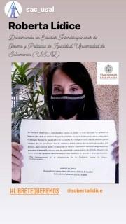 [La exposición Libre te queremos está enmarcada dentro del Proyecto 1234redes.con, apoyado por la Unión Europea dentro del Programa INTERREG V-A España-Portugal (POCTEP) 2014-2020, y cofinanciado por el Fondo Europeo de Desarrollo Regional (FEDER)]. #LIBRE TE QUEREMOS Día 25 de noviembre: Día Internacional Contra la Violencia de Género. Acción social promovida por el Servicio de Actividades Culturales y la Unidad de Igualdad de la Universidad de Salamanca (USAL). Un mensaje a todas las mujeres que están sufriendo algún tipo de violencia basada en género. Queremos que sepan que de todo se sale, y que hay un mundo ahí fuera para ustedes. *Mensaje de Roberta Lídice: «La violencia doméstica e intrafamiliar contra la mujer se hace presente en millones de hogares y no suele ser denunciada por las víctimas, en razón de muchos factores, como temor o culpa por denunciar un miembro de la familia. En cualquier caso, cumple advertir que las víctimas de este persistente tipo delictivo, deben valerse del derecho de acceder a la justicia, superando el miedo y rompiendo el silencio, teniendo en cuenta la importancia de presentar denuncia del agresor ante las autoridades competentes, con el fin de afrontar esta lacra social que aqueja no solo a las mujeres sino también a los miembros del grupo familiar». ROBERTA LÍDICE Doctoranda en Estudios Interdisciplinares de Género y Políticas de Igualdad Universidad de Salamanca (USAL) -España.  #LIBRE TE QUEREMOS @sac_usal @robertalidice