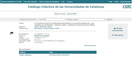 """Obra incorporada al Catálogo Colectivo de las Universidades de Catalunya (CCUC): """"LA FUNCIÓN SOCIAL DE LA DEFENSORÍA DEL PUEBLO Y EL CANAL DE DENUNCIAS"""" – UNA CUESTIÓN DE CIUDADANÍA, de la autora Roberta LÍDICE: *Info: *Catálogo Colectivo de las Universidades de Catalunya – CSUC: https://ccuc.csuc.cat/record=b7487056~S23*spi *Librería Bosch – Barcelona: : http://libreriabosch.com/Shop/Product/Details/44185_la-funcion-social-de-la-defensoria-del-pueblo-y-el-canal-de-denuncias ¡Buena Lectura!/ Have a Good Reading! ©ROBERTA LÍDICE."""