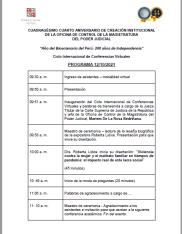 """OCMA - Oficina de Control de la Magistratura del Poder Judicial del Perú Año del Bicentenario del Perú: 200 Años de Independencia """"Ciclo de Conferencias Virtuales En Materia De Violencia Hacia La Mujer"""" Del 12 al 15 de octubre de 2021, Lima – Perú. Organizado por la Oficina de Control de la Magistratura del Poder Judicial y dirigido por la Dra. Mariem De La Rosa Bedriñana, Jefa de la OCMA. Ponencia: """"Violencia contra la mujer y el maltrato familiar en tiempos de pandemia: el impacto real de esta lacra social en Brasil"""". Expositora: Dra. Roberta Lídice. Lima: el 12.10.2021, a las 10:00h. Para ingresar al evento, compartimos el siguiente enlace: Dra. Roberta Lídice (Brasil) https://meet.google.com/ovg-bisq-mnz En este sentido, cabe señalar que este órgano de control, en el mes de octubre del año en curso, celebrará su cuadragésimo cuarto Aniversario de creación institucional; en dicho marco se están organizando eventos académicos, dirigidos a magistrados y personal adscrito a esta Oficina de Control a nivel nacional. *Nota publicada por el periódico peruano """"Diario Jornada"""" sobre el evento organizado por la OCMA: Diario Jornada (Perú): https://www.jornada.com.pe/judicial/item/4948-ocma-iniciara-ciclo-conferencias-virtuales-con-reconocidos-ponentes-internacionales"""